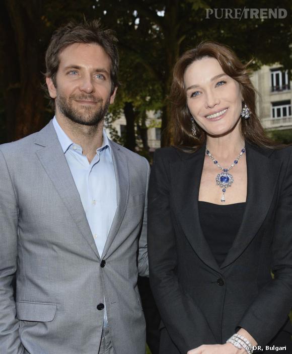 Bradley Cooper et Carla Bruni lors de la soirée Diva de Bulgari à Paris.