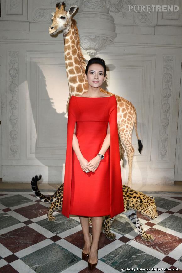 Zhang Ziyi chez Valentino Haute Couture à Paris.