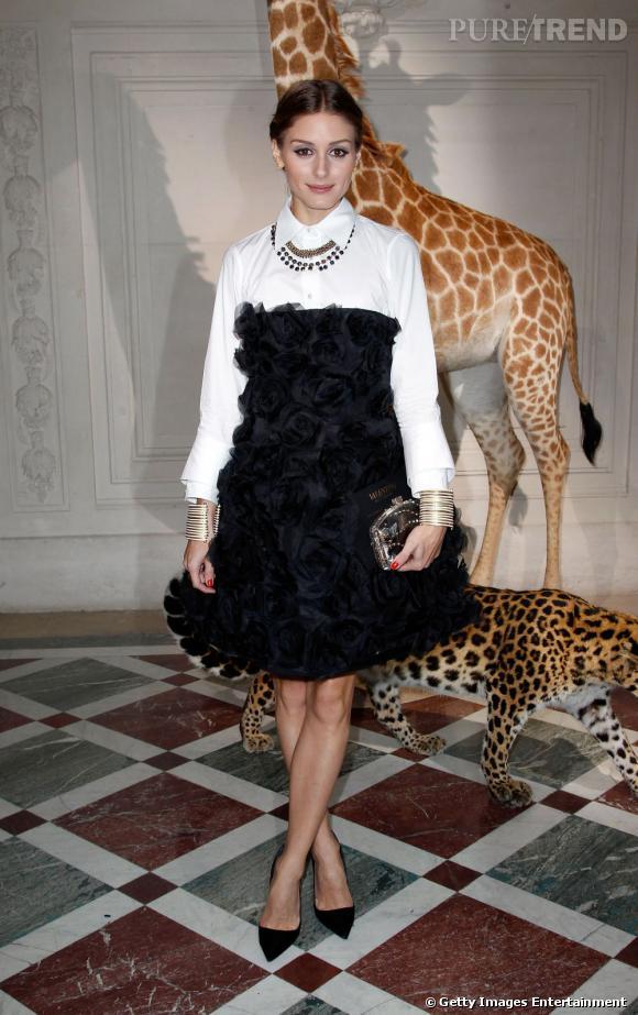 Olivia Palermo chez Valentino Haute Couture à Paris.