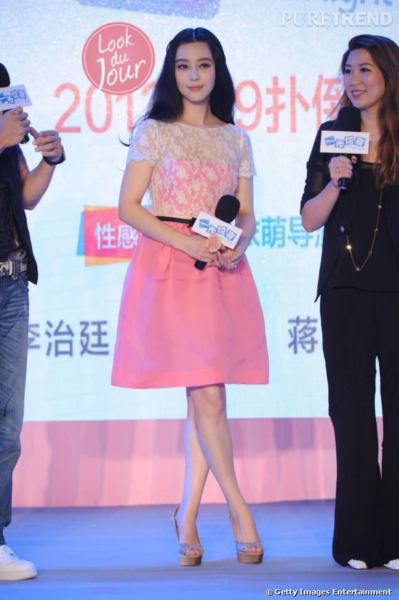 """Fan Bingbing fait la promotion de """"One Night Surprise"""" à Pékin, prévu au cinéma pour le 9 août 2013."""