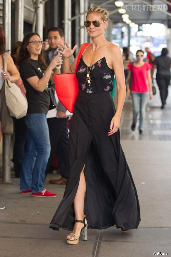 6c7f9b9fa71c8b Les stars adeptent de la jupe longue sexy fendue : Heidi Klum ...