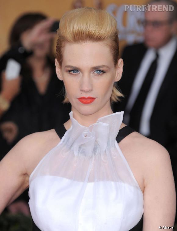 La pire coiffure : January Jones opte pour la coque bombée et si l'effet est graphique, l'actrice perd en glamour.