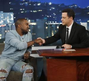 Kanye West sur le plateau de Jimmy Kimmel Live.