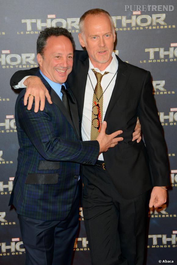 """Louis d'Esposito et Alan Taylor (le réalisateur) présentent """"Thor : Le Monde des Ténèbres""""."""