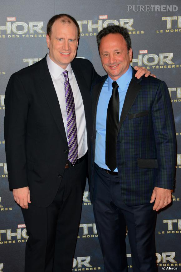 """Kevin Feige et Louis d'Esposito à l'avant-première de """"Thor : Le Monde des Ténèbres""""."""