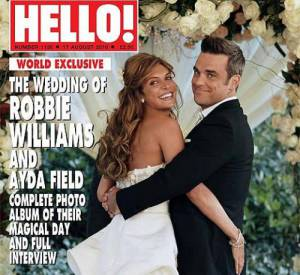 Ayda Fiel et Robbie Williams en une de Hello.