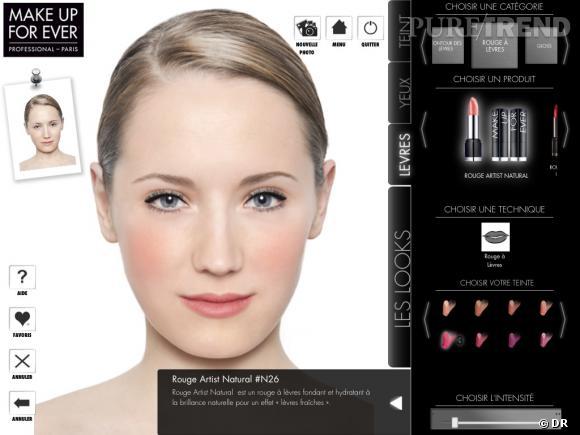 Appli Make Up Forever : on utilise les produits sur un mannequin tout en prenant des conseils de pro.