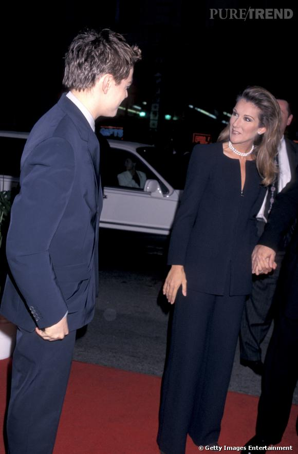 Céline Dion et Leonardo DiCaprio lors de la première du film en 1997 à Los Angeles.