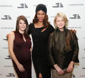 Tyra Banks entourée de Gail Simmons la présentatrice de Top Chef USA et Martha Stewart, la grande prêtresse du lifestyle.