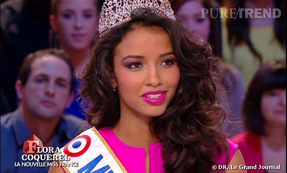 Flora Coquerel, une Miss France fière d'être métisse, invitée au Grand Journal, lundi soir.