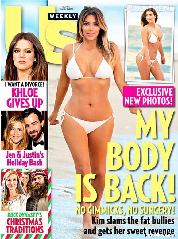 En petit bikini blanc en Une de US Weekly, Kim Kardashian affiche une silhouette au meilleur de sa forme.