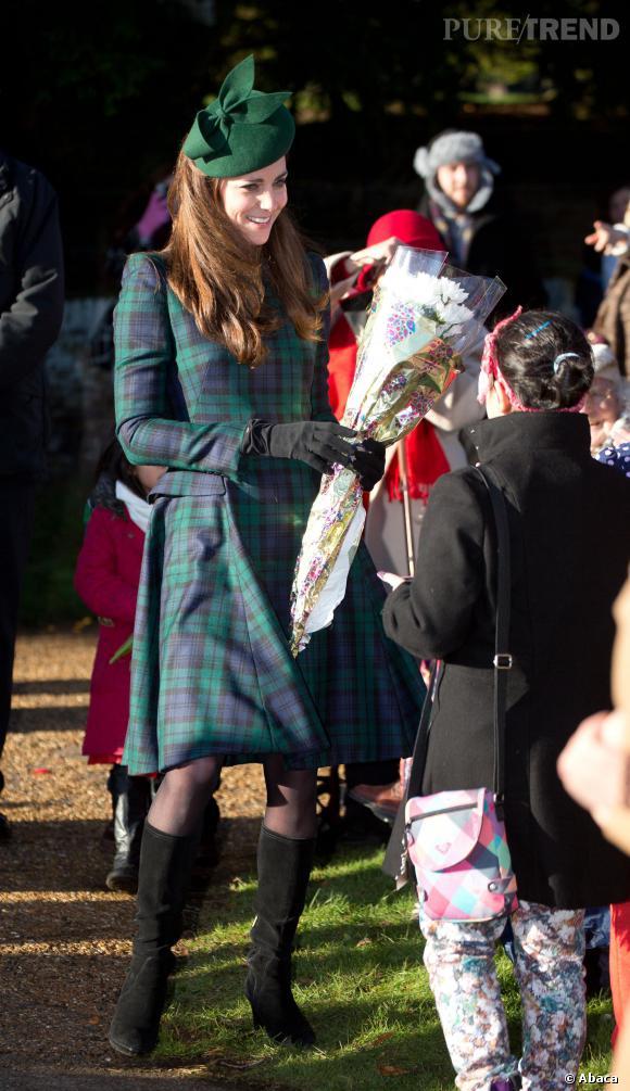 Kate Middleton à la messe de Noël donnée à l'église Sainte Marie Madeleine à Sandringham le 25 décembre 2013.