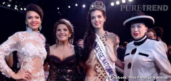 Marie-Laure Cornu, Miss Prestige National 2014, entourée de la Présidente du Comité Miss Prestige National Christiane Lillio et de Geneviève de Fontenay.