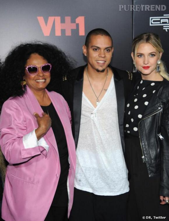 Ashlee Simpson avec son fiancé Evan Ross et sa future belle-mère, Diana Ross.