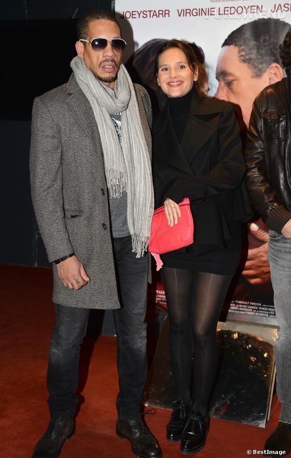 """Virginie Ledoyen et Joey Starr à la première du film """"Une autre vie"""" à l'UGC des Halles le 20 janvier 2014."""