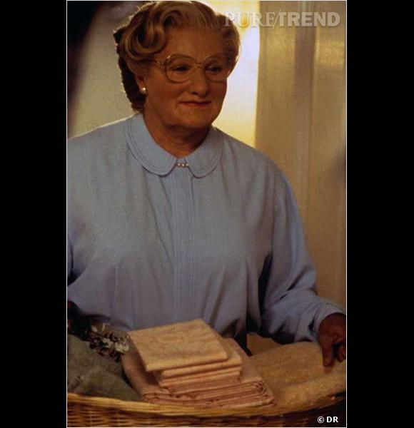 """Les travestis au cinéma : Robin Williams dans """"Mrs Doubfire""""."""