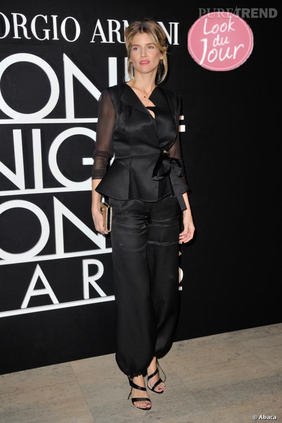 Alice Taglioni, très chic et élégante au défilé de la collection Printemps-Eté 2014 de Giorgio Armani au Palais de Tokyo, le 21 janvier 2014.