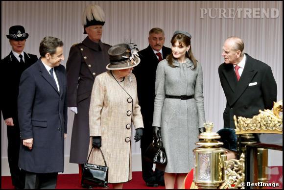 Carla Bruni en visite au Royaume-Uni le 26 mars 2008.