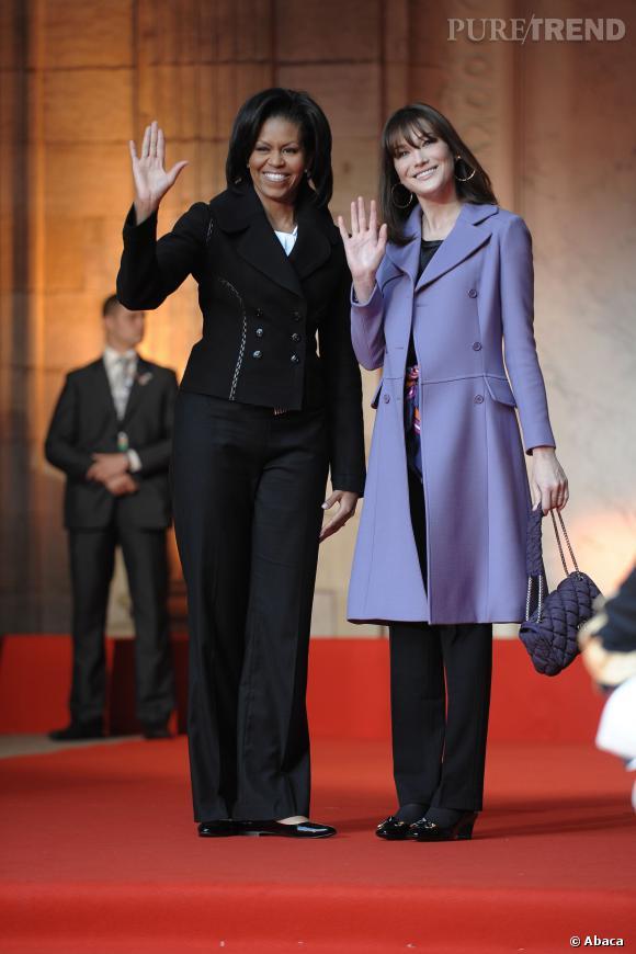 Michelle Obama et Carla Bruni à Strasbourg, le 4 avril 2009.