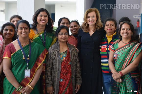 Valérie Trierweiler lors de sa visite à  Noida, près de New Delhi.