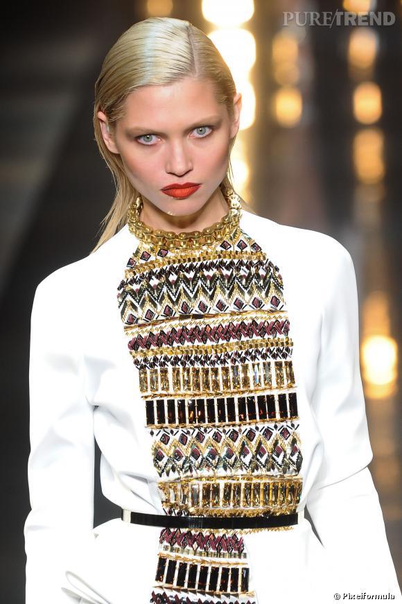 La bouche tie & dye et le wet look chez Alexandre Vauthier. Défilés Haute Couture printemps-été 2014