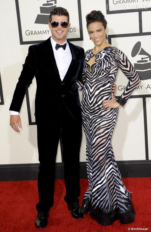 Robin Thicke et sa femme au Grammy Awards, très chics.