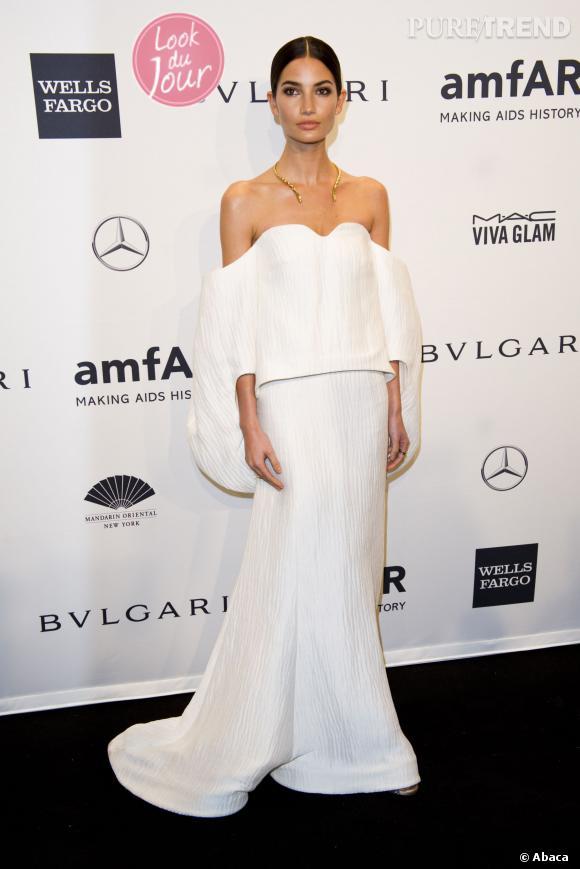 Lily Aldridge, apparition façon déesse élégante pour le Gala de l'amfAR 2014, à New York, le 5 février 2014.
