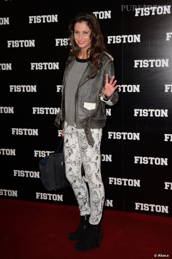 """Ambiance rock'n'roll pour Malika Ménard à la première parisienne de """"Fiston"""" au Grand Rex à Paris le 10 février 2014."""