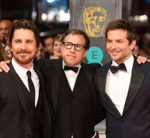 Christian Bale, David O'Russell et Bradley Cooper aux BAFTA Awards 2014 à Londres.