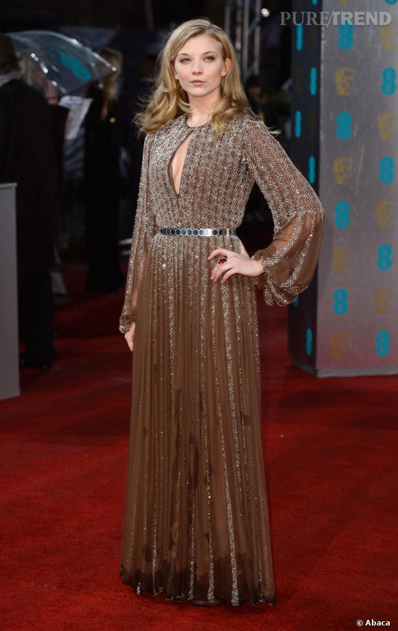 Natalie Dormer arrive aux  EE BAFTA British Academy Film Awards, en février 2013.