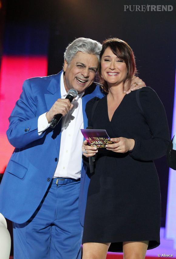 Daniela Lumbroso avec Enrico Macias pour la Fête de ma chanson française en janvier 2013.