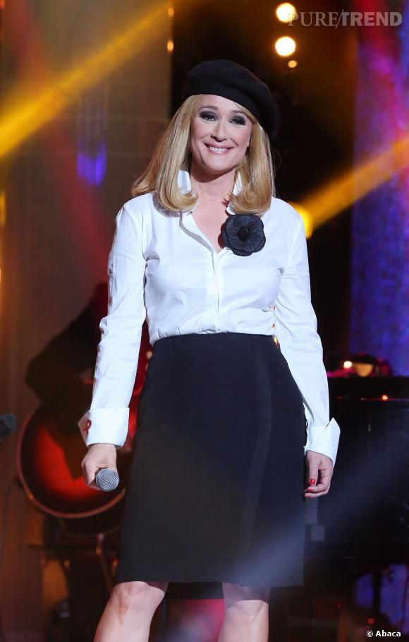 Daniela Lumbroso enregistre l'émission Toute la télé chante le sidaction en avril 2013.