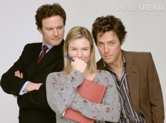 """Colin Firth, Hugh Grant et Renée Zellweger, le triangle amoureux du """"Journal de Bridget Jones""""."""