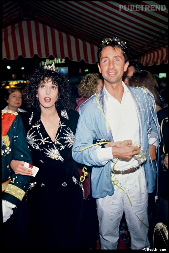"""Thierry Lhermitte et Anémone lors de la première du film """"Le mariage du siècle"""" en 1985."""