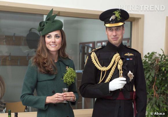 Kate Middleton et le Prince William lors des célébrations de la Saint Patrick, le 17 mars 2014.