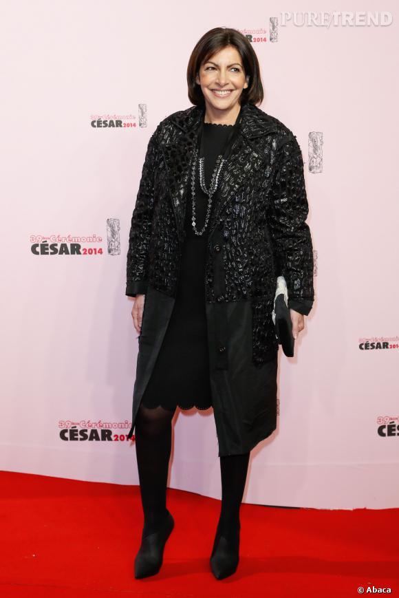 Anne Hidalgo en total look noir aux Césars 2014.