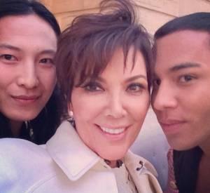 Kris Jenner, Alexander Wang et Olivier Rousteing en Italie, pour mariage de Kim Kardashian et Kanye West.
