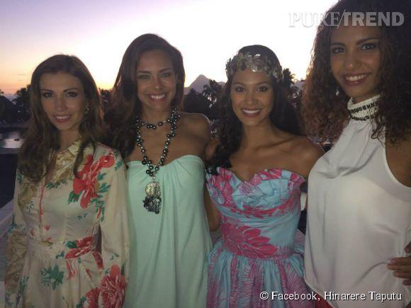 Hinarere Taputu, nouvelle Miss Tahiti 2014, avec des anciennes Miss France : Alexandra Rosenfeld, Marine Lorphelin et Chloé Mortaud.