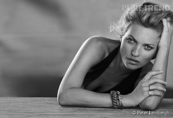 Kate Moss pour David Yurman shootée par Peter Lindbergh.