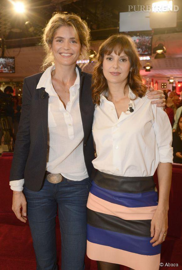 """Alice Taglioni et Elodie Navarre à l'enregistrement de l'émission de France 2 """"Vivement Dimanche"""" le 15 octobre 2014."""