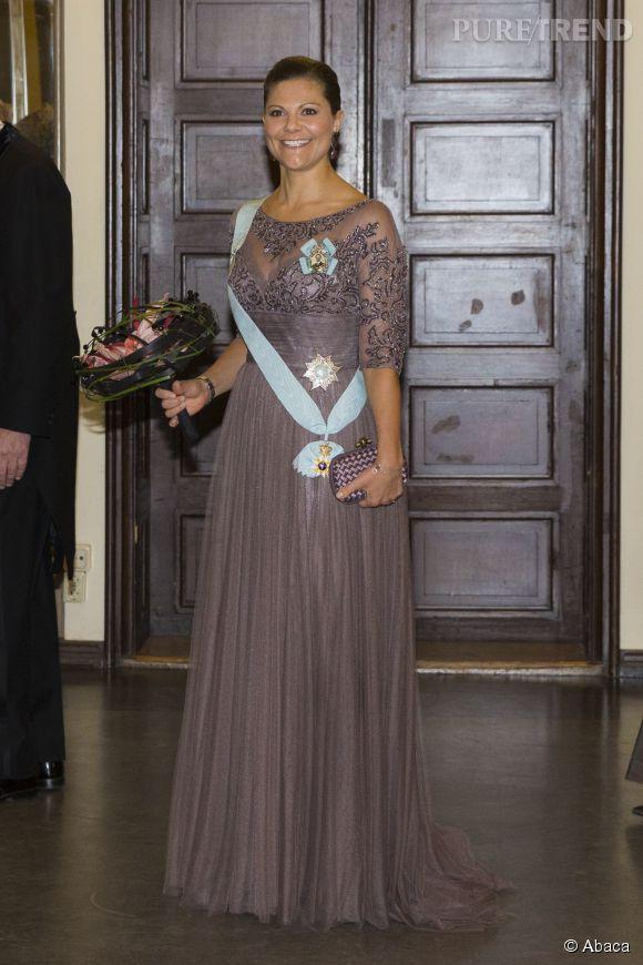 La princesse Victoria de Suède à la réception annuelle de l'Académie royale des sciences à Stockholm le 24 octobre 2014.
