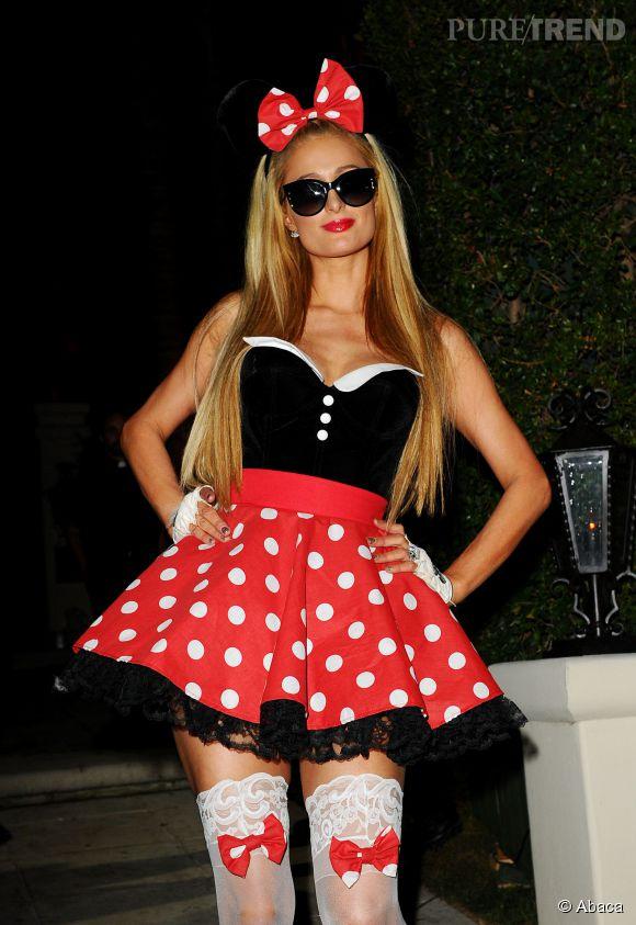 Paris Hilton en Minnie Mouse catin pour Halloween.